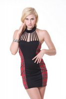Sexy School Girl Mini Dress Red/black L15159-2