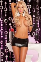 Mini Skirt Black Finish With Side Slits L3188