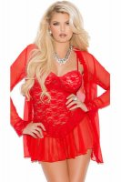 Lace Chemise and Robe L27882-2