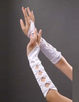 White Hollowed-out  Satin Gloves TY023-1