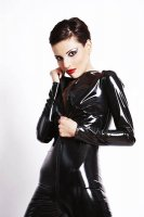 Black PVC Catsuit with Long Zipper L6063