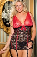 Plus Size Mesh and Lace Chemise P2215-1