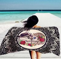 Yoga Sugar Skull Beach Picnic Thin Towel