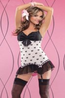 Bow Mesh Chemise with Padded Cups L2132-1