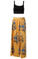 Yellow Geometric 2-in-1 Round Neck Vintage Maxi Dress L28085