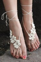 White Hand Made Flowery Crochet Beach Sandals L98005-2