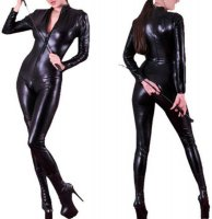 Sexy Shiny Black Stretch PVC Look Catsuit L6069