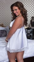 Plus Size Satin and Lace Babydoll Set White 2316-4