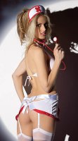 White And Red Bedside Nurse Lingerie Set L15323