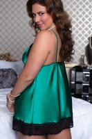 Plus Size Satin and Lace Babydoll Set Green 2316-1