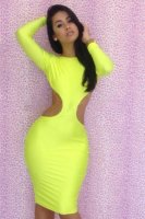Neon Yellow Backless Bodycon Dress L2609-1