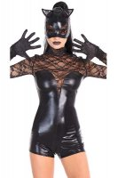 Black Lace Romper Cat Girl Costume L15322