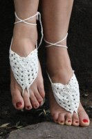 Whtie Pearl Embellished Crochet Barefoot Sandals L98003-3