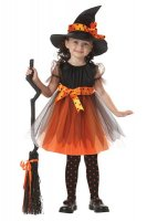Girls Orange Charmed Witch Costume L15287