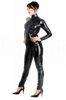 Front Zip Faux Leather Jumpsuit  L6061
