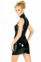 Front Zip Sleeveless Faux Leather Mini Dress L6062