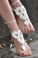 Whtie Triangle Floral Crochet Barefoot Sandals L98001-3
