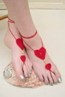 Red Crochet Sweetheart Beaded Barefoot Sandals L98006-1