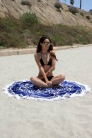 Fashion Round BeachTowel with Fringe 155cm L38352