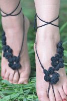 Black Hand Made Flowery Crochet Beach Sandals L98005-4