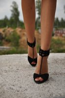 Black Anklet Crochet Barefoot Sandals  L98007