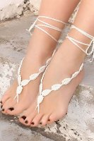 White Crochet Leaves String Barefoot Sandals L98004-3