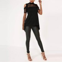 Hollow Out Back Split Slim Casual Tops 578-2