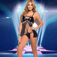Black Mesh Babydoll with Leather Bra 28234