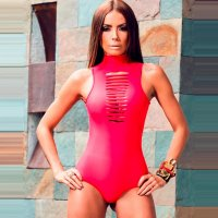 High Neck Sleeveless Hollow Bathing Suit 32609-2