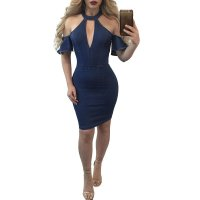 Lauren Open Shoulder Denim Midi Dress L36183