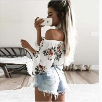Ladies Casual Summer Lace Floral Blouse Tops 588