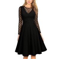 Women's Vintage Elegant Long Sleeve Polka Dot Swing Dress 36019