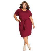 Plus Size Pure Cotton Short Sleeve Dress