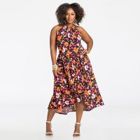 Floral HI-LO Halter Maxi Dress