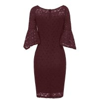 Hollow Out Plain Lace Bell Sleeve Bodycon Dress
