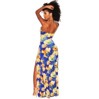 Blue Yellow Floral Tie Up Slit Maxi Dress