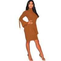 Caramel Ribbed Knit Mock Neck Lace Up Bell Sleeves Dress