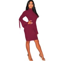 Wine Red Ribbed Knit Mock Neck Lace Up Bell Sleeves Dress