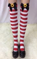 Ladies Nylon Christmas Halloween Schoolgirl Striped Tights Stocking