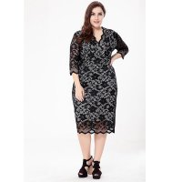 Plus Size Women's V-neck Sexy Hollow Out Lace Dress