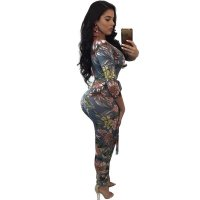 Sexy V Neck Printed Fashion Jumpsuits