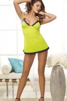 Lace Trim Chemise and Thong