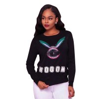 Booom Black Graphic Sweater Top
