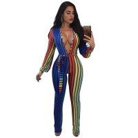 Joey Multi Color Striped Belted Jumpsuit
