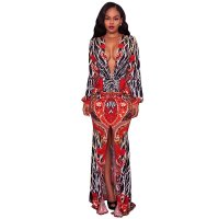 Tamia Multi Color Printed Ruched Front Maxi Dress