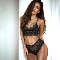 Black Seductive Eyelash Lace Lingerie Sets