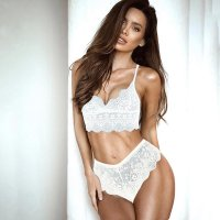 White Seductive Eyelash Lace Lingerie Sets