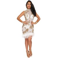Plump Side Sequins Mesh Dress
