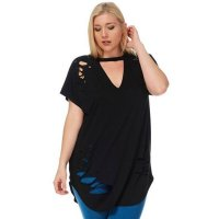 Womens Plus Size Ripped Cut Out Plain Short Sleeve T Shirt Black