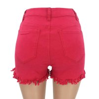 Red Short Jeans With Ruffle Trims